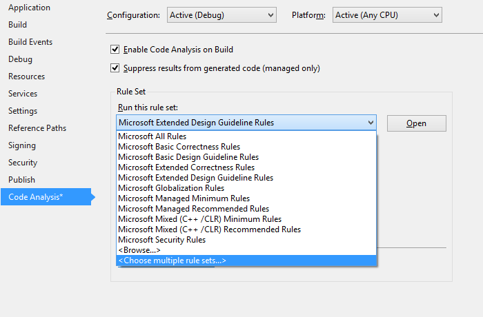 Screenshot showing where to select multiple Code Analysis rule sets